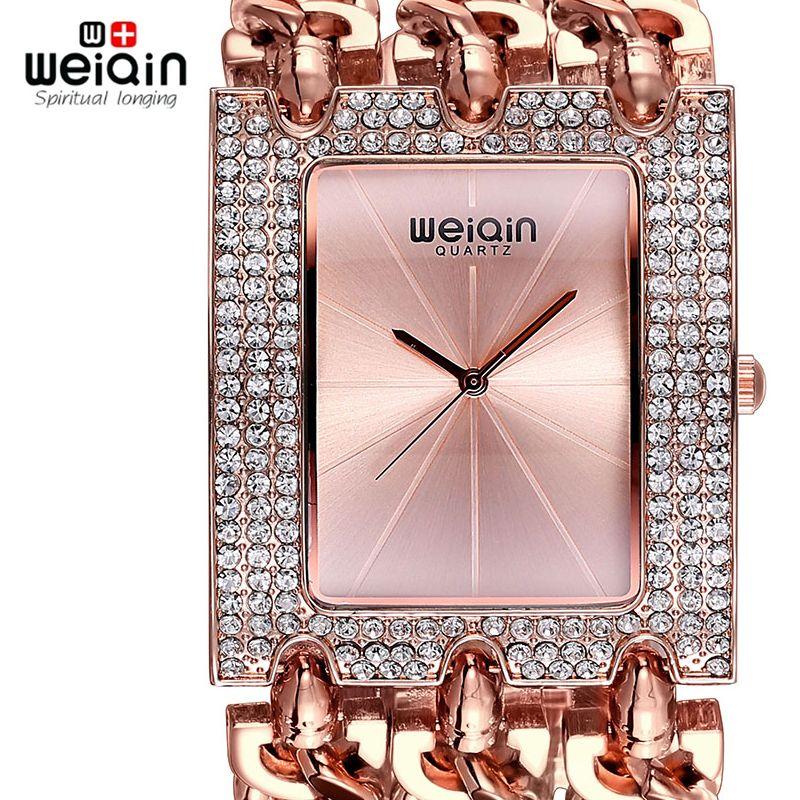 Weiqin lujo oro cristal de diamante pulsera Relojes mujeres moda brazalete vestido reloj mujer reloj Relogio feminino