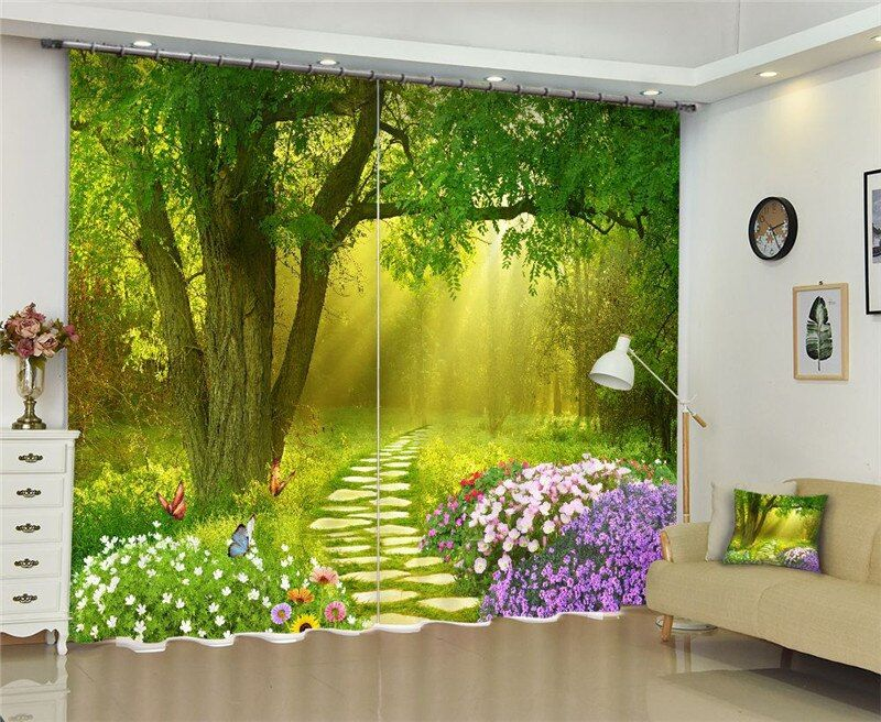 Forest scenery Window Blackout Luxury 3D Curtains set For Bed room Living room Office Hotel Home Wall Decorative Drape tapestry