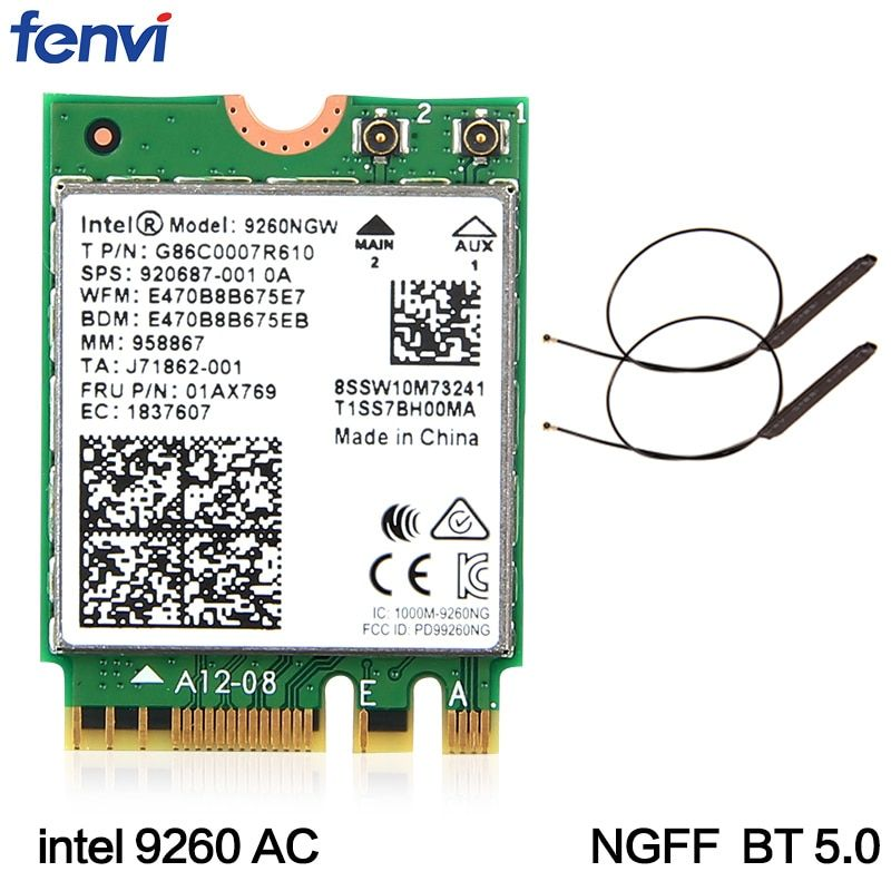 Dual Band Wireless-AC 9260 For <font><b>Intel</b></font> 9260NGW NGFF 802.11ac MU-MIMO 1730Mbps 1.73Gbps WiFi + Bluetooth 5.0 Card Fit Windows 10