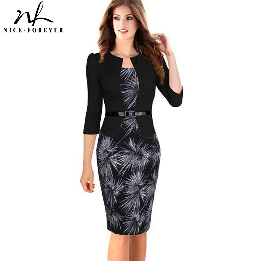 Nice-forever One-piece Faux Jacket Brief Elegant Patterns <font><b>Work</b></font> dress Office Bodycon Female 3/4 Or Full Sleeve Sheath Dress b237