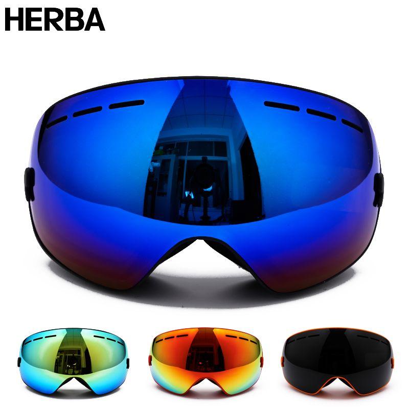 Новый herba брендовые лыжные очки двойные линзы UV400 Анти-туман взрослых сноуборд Лыжный Спорт Очки Для женщин Для мужчин снег очки