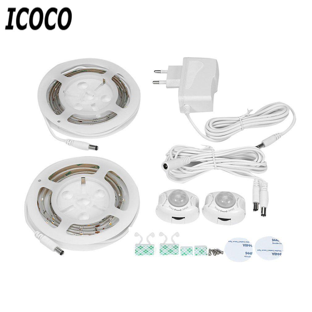 ICOCO Hot Sale Double Roll 1.2M Waterproof IP66 30 LED Digital Bed-Lamp Body Motion Sensor Strips Night Light for EU/AU/UK Plug