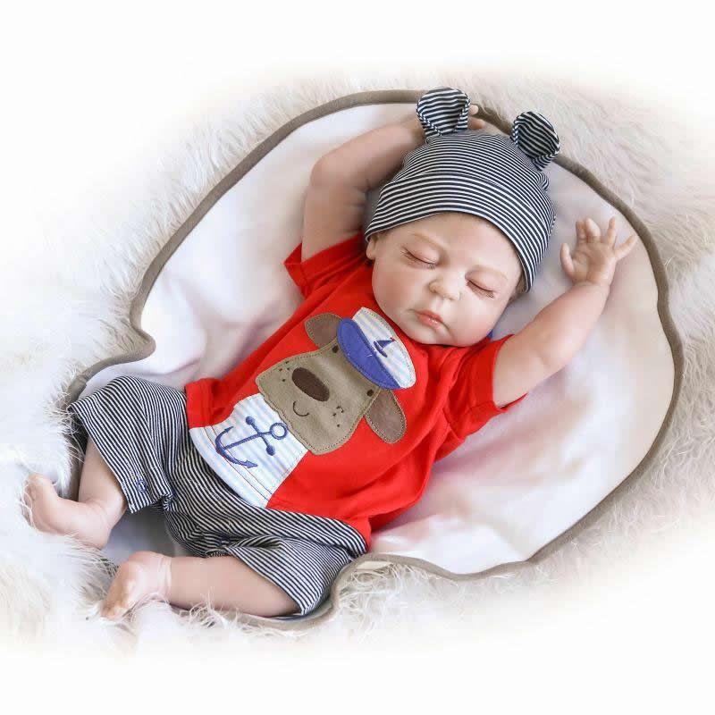 NPKCOLLECTION 23 Inch/57cm Realistic Reborn Babies Full Silicone Lifelike Boy Body Baby Dolls With Closed Eyes Kids Sleeping Toy