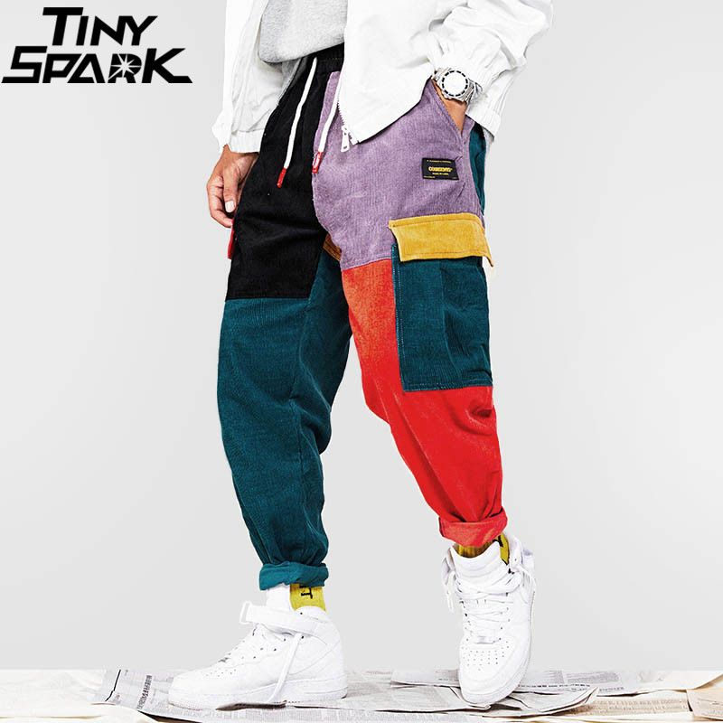 Hip Hip Pants Vintage Color Block Patchwork Corduroy Cargo Harem Pant Streetwear Harajuku Jogger Sweatpant Cotton Trousers 2018