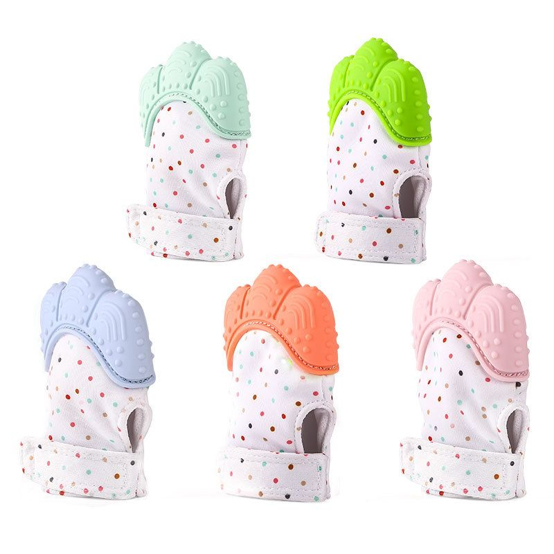 Baby Teether Pacifier Glove Natural Silicone Thumb Sound Teething Chewable Nursing Beads Child Give Up Sucking Fingers 1pcs