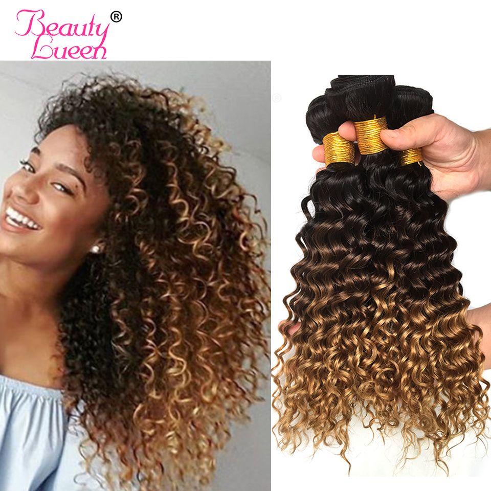 Ombre Vague Profonde Cheveux Brésiliens Armure Faisceaux T1B/4/27 de Cheveux Trois Tons Ombre Blonde Cheveux 1 pc Pouvez Acheter 3 Ou 4 Faisceaux Remy