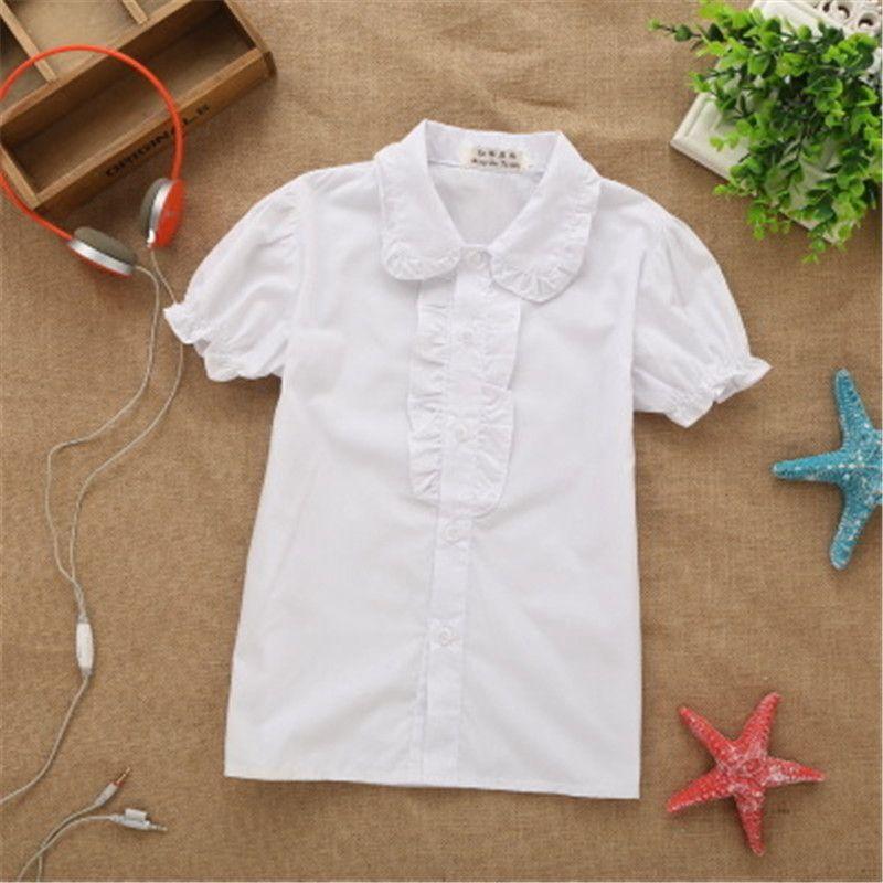 2019 nouveau printemps-été dentelle coton solide Blanc bébés filles Blouse chemises blanches à manches courtes pour enfants filles