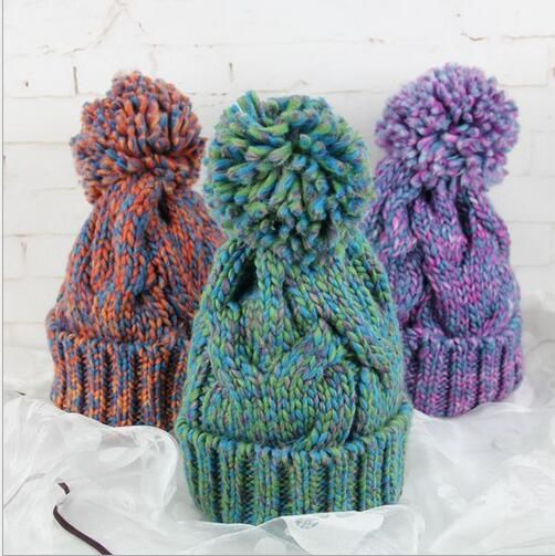 Winter Warm Handmade Braided Crochet Knitted Beanie Double Color Mosaic With Rope Hair Ball Fashion Hat