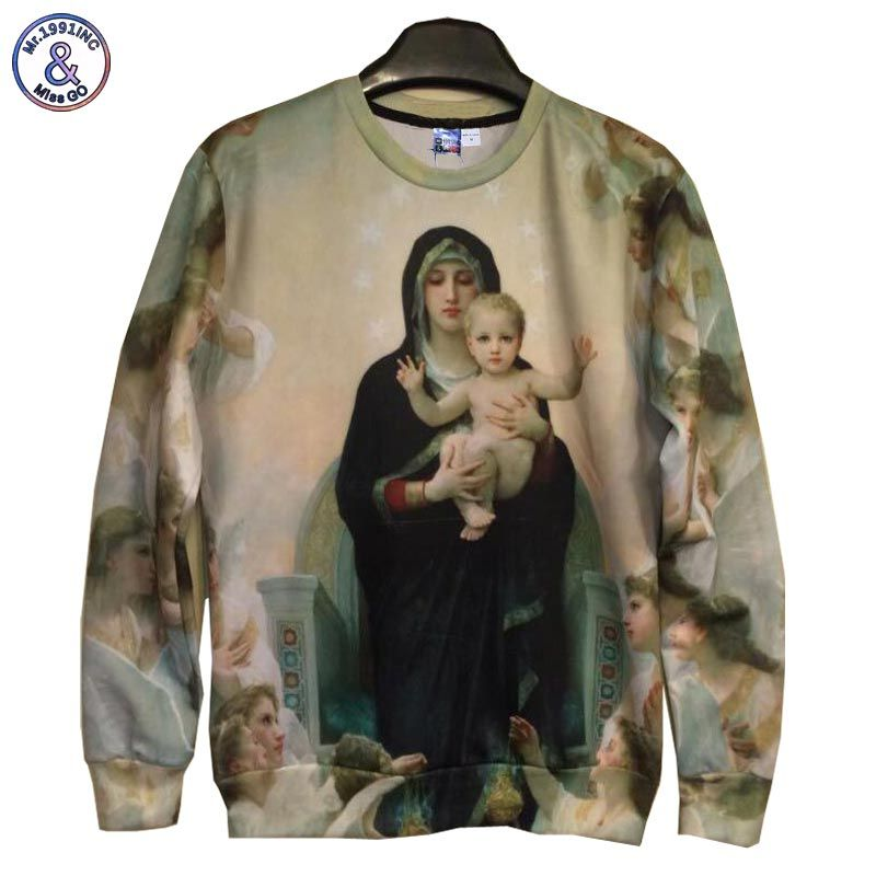 Mr.1991INC Men/Women's 3d Sweatshirts print Great mother Virgin Mary and Jesus cotton hoodies tops