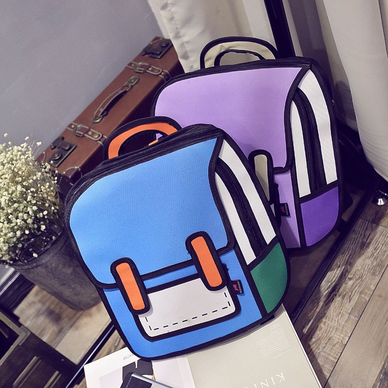 Fashion 3D anime bags Cartoon women men backpacks cute Canvas double shoulder bags for teenagers 2D Travel Drawing Book mochila