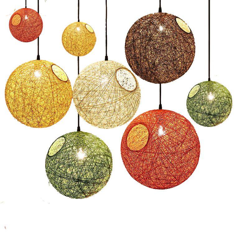 Créatif coloré rotin abat-jour pendentif lumières rétro E27 sphérique lanterne suspension lampe pour salle à manger Restaurant café Bar
