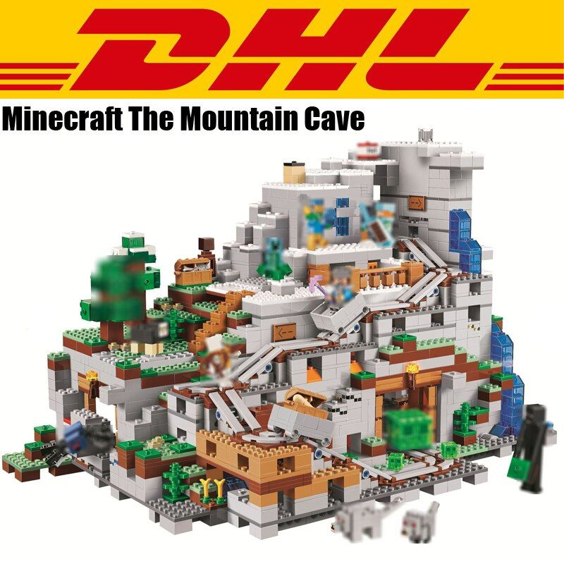 2018 New 2932Pcs Minecrafted Figures The Mountain Cave Model Building Kits Blocks Bricks Toy For Children Gift Compatible 21137