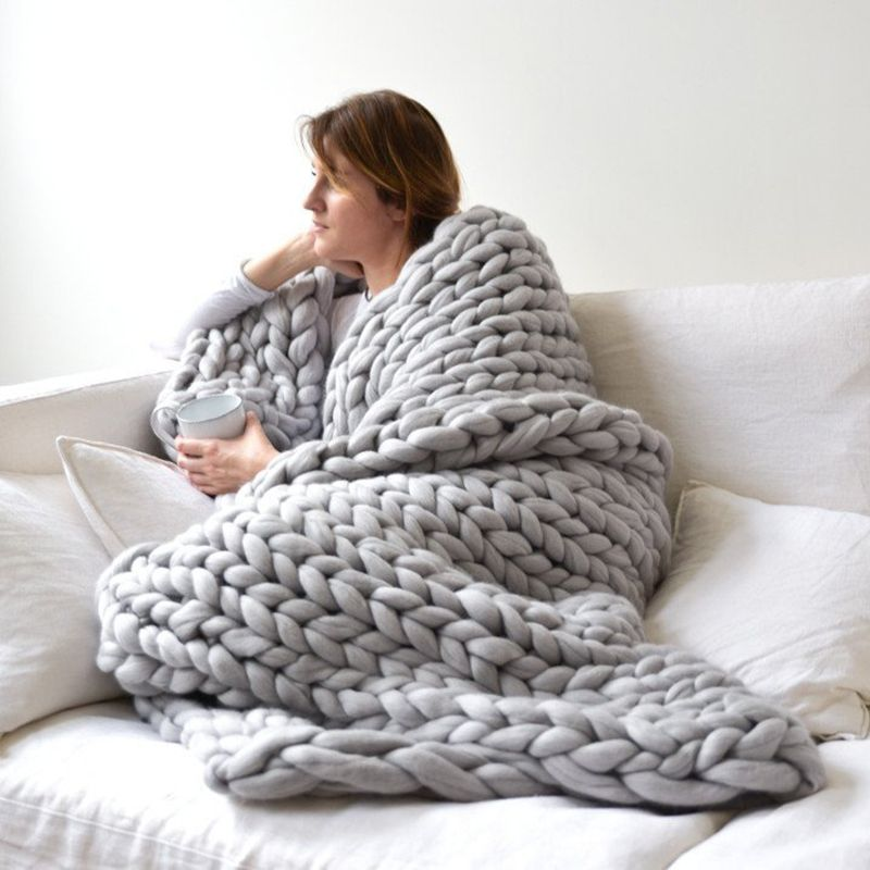 1pc Handmade Chunky Knitted Blanket Thick Yarn Merino Wool Bulky Knitted Blanket Warm Winter Sofa Bed Home Decor Throws Blankets