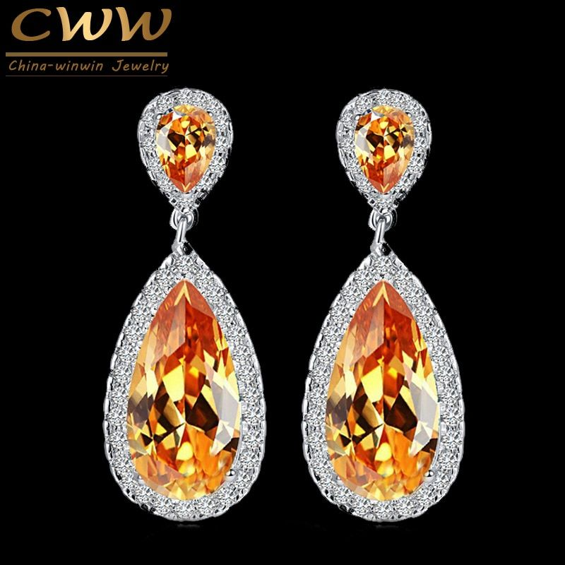 CWWZircons 7 Couleurs Classique de Conception De Goutte D'eau En Argent Couleur Or Champagne Cristal Femmes Boucle D'oreille Avec CZ Pierres CZ078