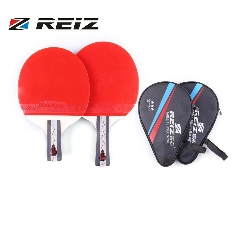 REIZ Table Tennis Racket 3 Stars Ping Pong Paddle Short Or Long Handle Shake-hand Table Tennis Racket For Match Training