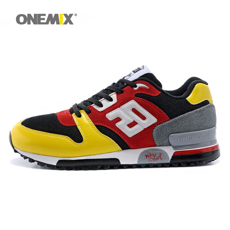 Onemix hommes et femmes rétro chaussures de course lumière cool sneakers respirant chaussures de sport pour les sports de plein air jogging marche trekking