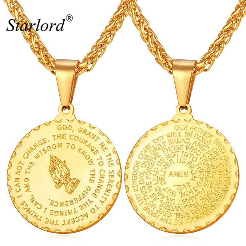 Starlord Prier Mains Pendentifs Colliers & Bible Verset Prière Coin Bijoux Vintage Or Couleur Acier Inoxydable Bijoux Hommes GP2356