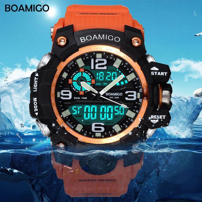 Hommes sport montres BOAMIGO marque numérique LED Orange choc nager Quartz caoutchouc montres étanche horloge Relogio Masculino
