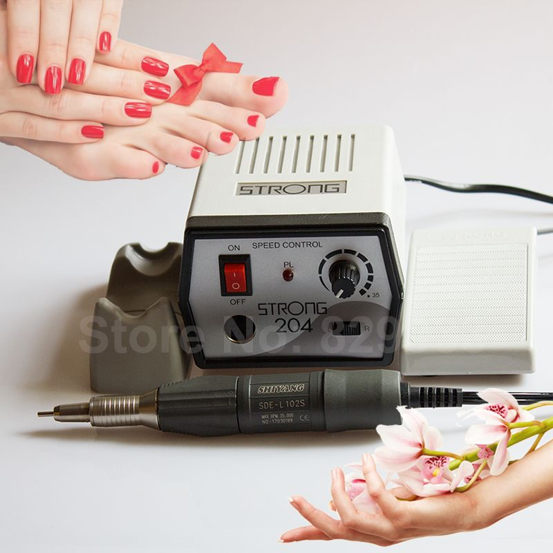 35000RPM Electric Manicure Machine Pedicure Nail File Drill Micromotor Device Strong 204+SHIYANG SDE-L102S Handpiece Nails Drill