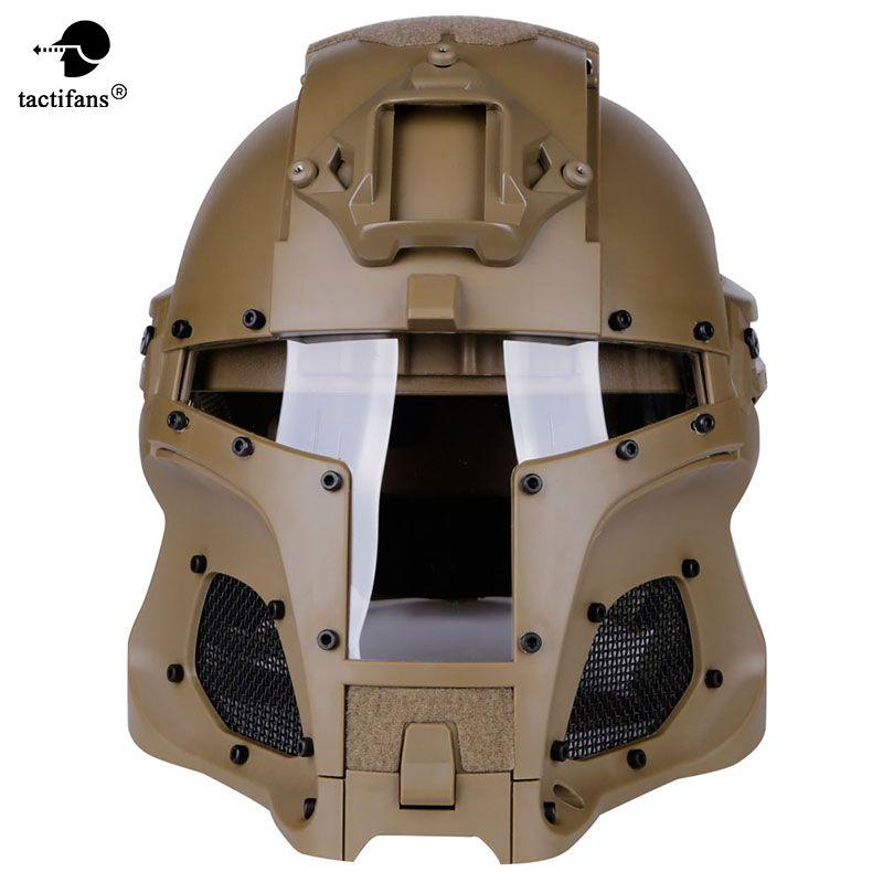 TACTIFANS Tactical Paintball Helmet Iron Warrior Helmet Integrated Rail NVG Shroud Transfer Base Dial Knob Combat Airsoft