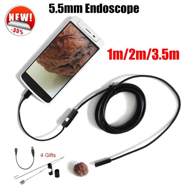 Antscope Endoscope 5.5mm Endoscope USB Android Caméra 1 M 2 M 3.5 M De Voiture Tuyau D'inspection de Serpent Tube MicroUSB Endoskop Caméra 19