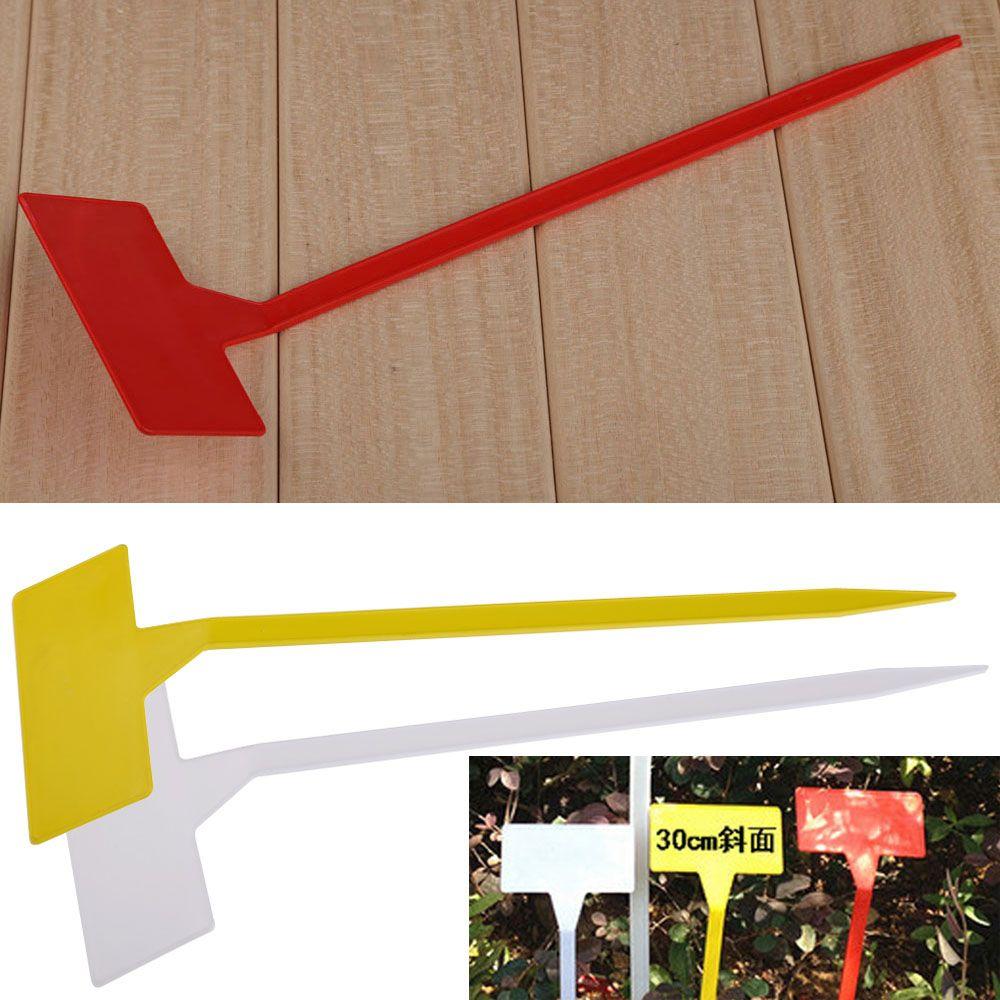 Vente chaude 50 pièces ornement de jardin en plastique plante t-type étiquettes retroussées marqueurs plan incliné pépinière étiquettes de jardin marqueurs BS