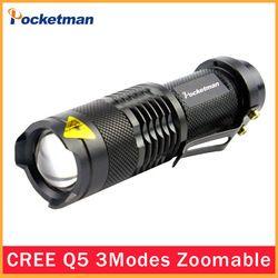 De haute qualité LED lampe de Poche Ultra Lumineux LED Torche AA/14500 3 Modes Zoomables Mini Étanche Noir lampe de Poche