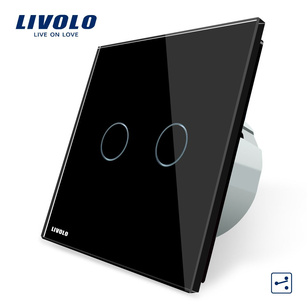 Livolo EU standard Wall Switch, VL-C702S-12, 2 Gang 2 Way Control, AC 220~250V,Black Glass Panel, Wall Light Touch Screen Switch