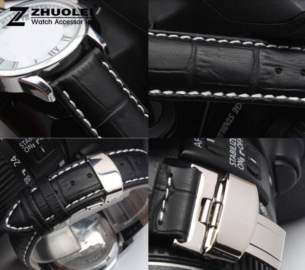 16mm 18mm 19mm 20mm 21mm 22mm 24mm hommes bracelet de montre noir en cuir véritable montre bracelet papillon déploiement fermoir