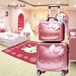 Alta calidad KT encantadora, dibujos Animados 3D gato ABS + PC 14/18 pulgadas Rolling equipaje Spinner maleta de viaje niñas regalo