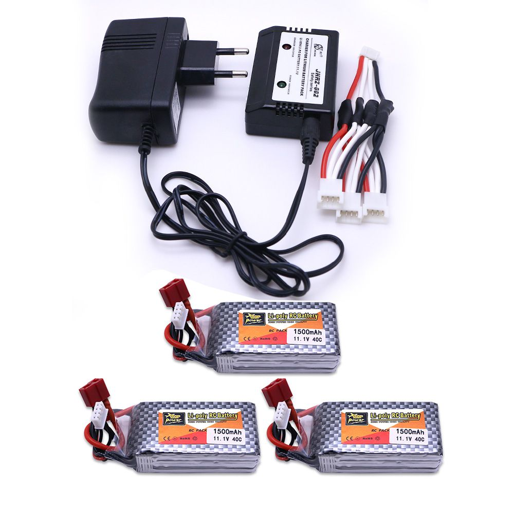 3pcs LiPo Battery 11.1 V 1500 Mah 3S 40C MAX 60C XT60/T Plug and charger For RC Car Airplane trucks buggy boats Helicopter