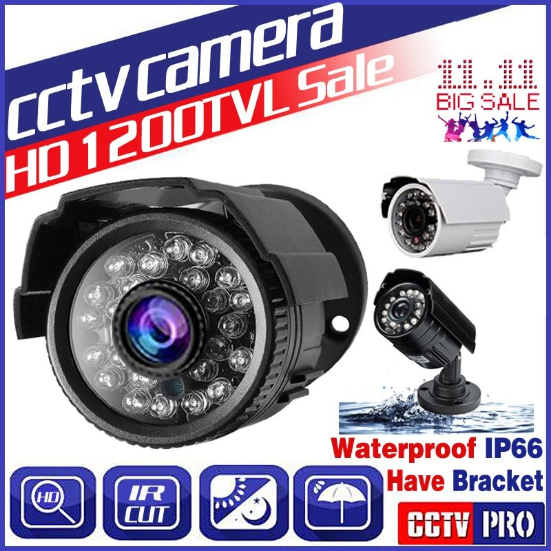 11.11BigSale Real 1200TVL HD Mini Cctv Camera Outdoor Waterproof IP66 IR 24Led Night Vision Analog monitoring security Vidicon