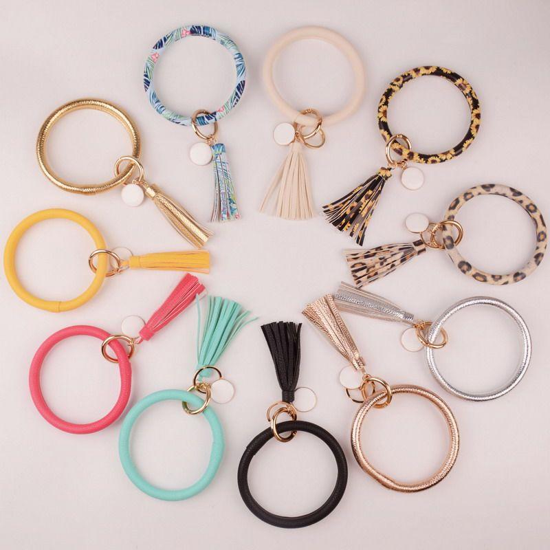 2019 New PU Leather O Key Chain Custom Circle Cute Same Color Tassel Wristlet Keychain Wholesale Women Girls 11Colors Keychain