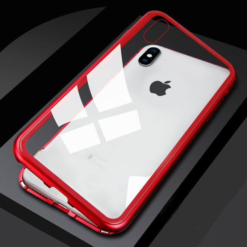 Ultra Magnetic Adsorption Phone Case For iPhone X 10 8 7 6 6S S Plus Luxury Metal Absorption Tempered Glass Cover Flip Case