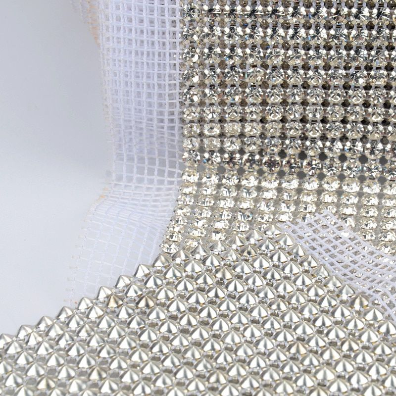 free shippment! 24 rows clear Crystal rhinestone mesh trimming 5mm chain Silver base White fabric DIY sewing lace 5yards/roll