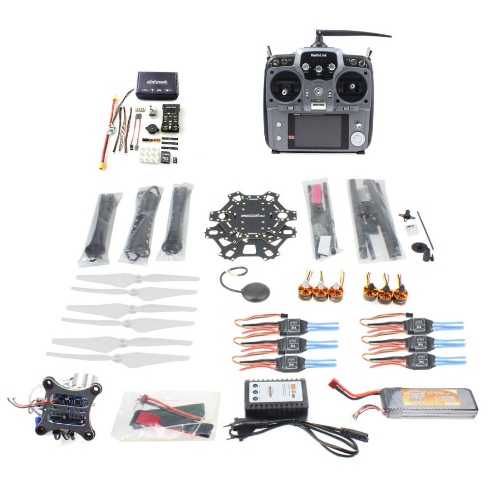 F08618-S DIY FPV Drone 6-axle Hexacopter Kit HMF S550 Frame PXI PX4 Flight Control 920KV Motor GPS Gimbal AT10 Transmitter