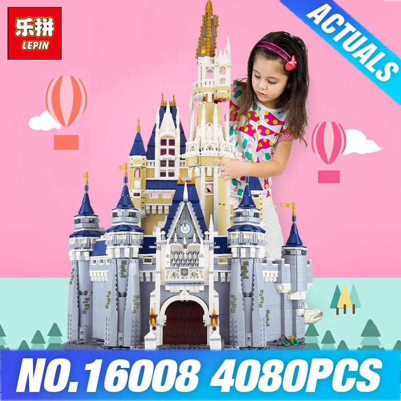 LEPIN 16008 Cinderella Princess Castle City set 4080pcs Model Building Block DIY Toys Birthday Christmas Gifts Compatible 71040