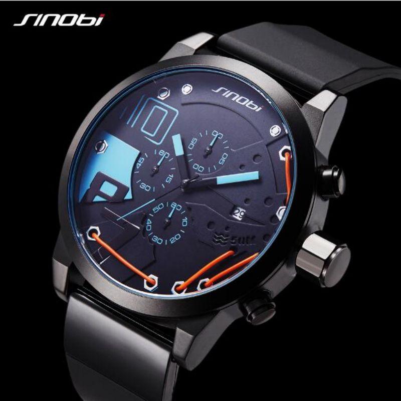 SINOBI Luxury Mens Watches Chronograph Sport Watch Men Watch Men's Watch Clock erkek kol saati reloj hombre relogio masculino