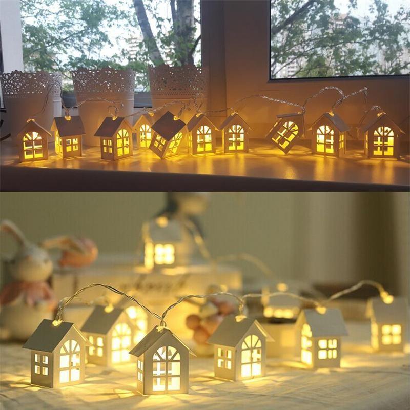 Nouveau LED guirlande bois maison chaîne lumière 2m 10LED s chambre décor chaîne lampe fête de mariage vacances fée lumières nouveauté lampe