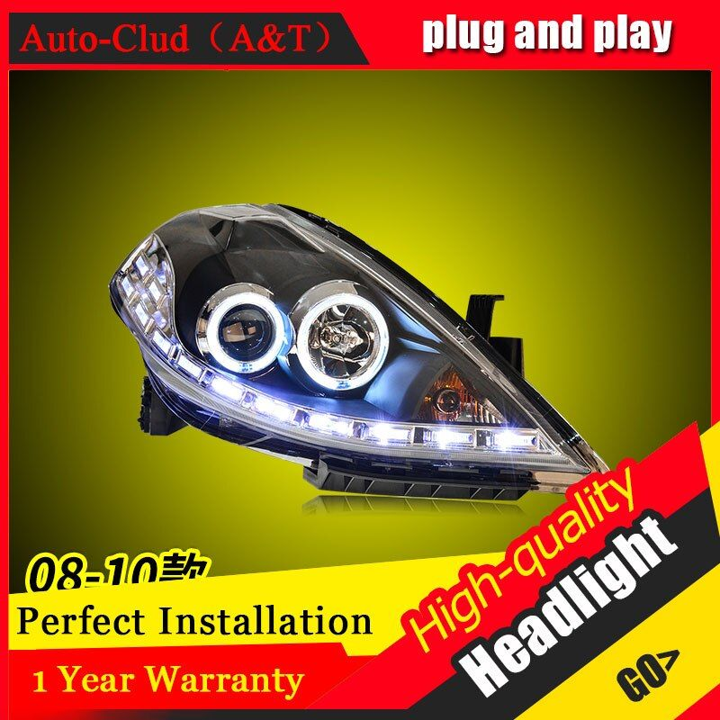 Auto Clud Car Styling For Nissan TIIDA headlights 2008-2010 For TIIDA head lamp led DRL front Bi-Xenon Lens Double Beam HID KIT