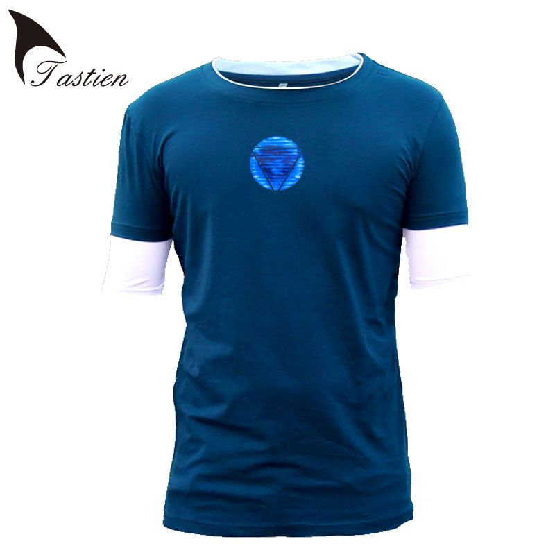 New Iron Man Tshirt Men Marvel Emitting Luminous Exclusive Design 100% Cotton Men Homme Superhero XS-4XL Tees Big Size TASTIEN