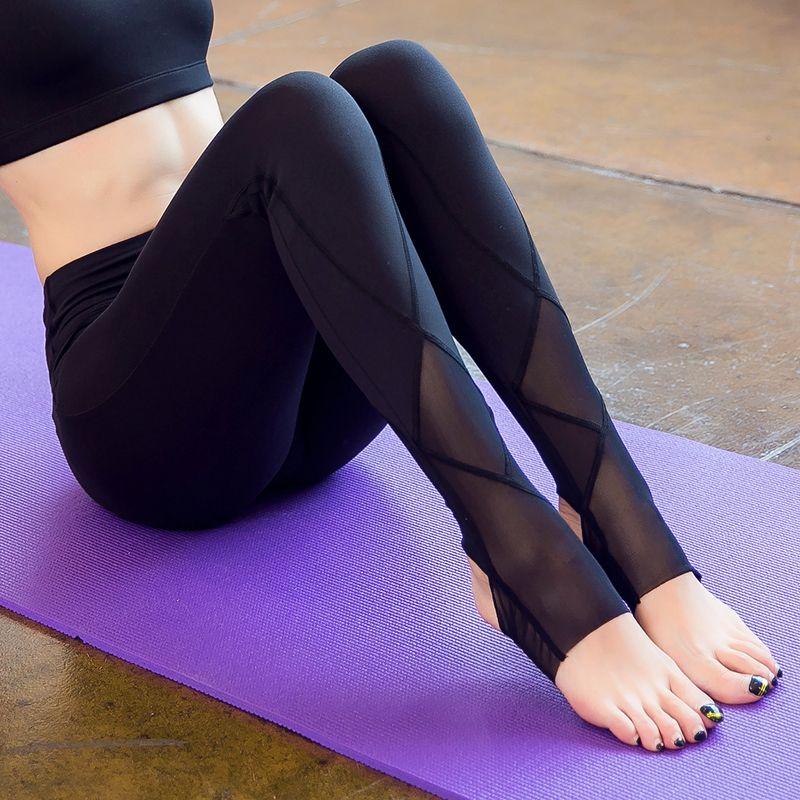 Femmes Sexy maille Yoga pantalon sec Fit Sport pantalon Fitness vêtements Gym serré entraînement course pantalon Sport Leggins femme Sportswear