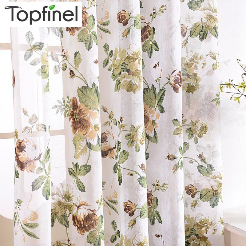 Topfinel lin lin Floral fenêtre rideaux Tulle luxe pure rideaux pour salon chambre fils rideaux bleu vert fleurs