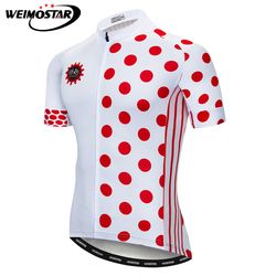 Weimostar Red Spots Bike Team Cycling Jersey Men Summer Short Sleeve MTB Bicycle Jersey Quick Dry Cycling Shirt Maillot Ciclismo