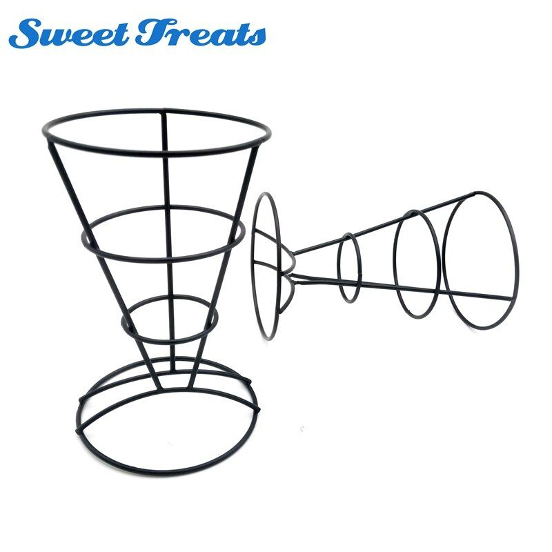 Sweettreats 2-Piece French Fry Stand Cone Basket Holder for Fries Fish and Chips and Appetizers