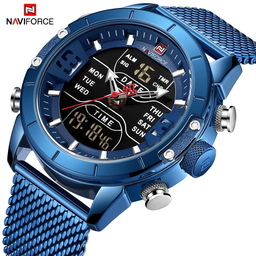 NAVIFORCE Herren Uhren Top Brand Luxus Sport Uhr Männer Mesh-Armband 30 M Wasserdicht Miliary Dual Display Armbanduhr Uhr blau