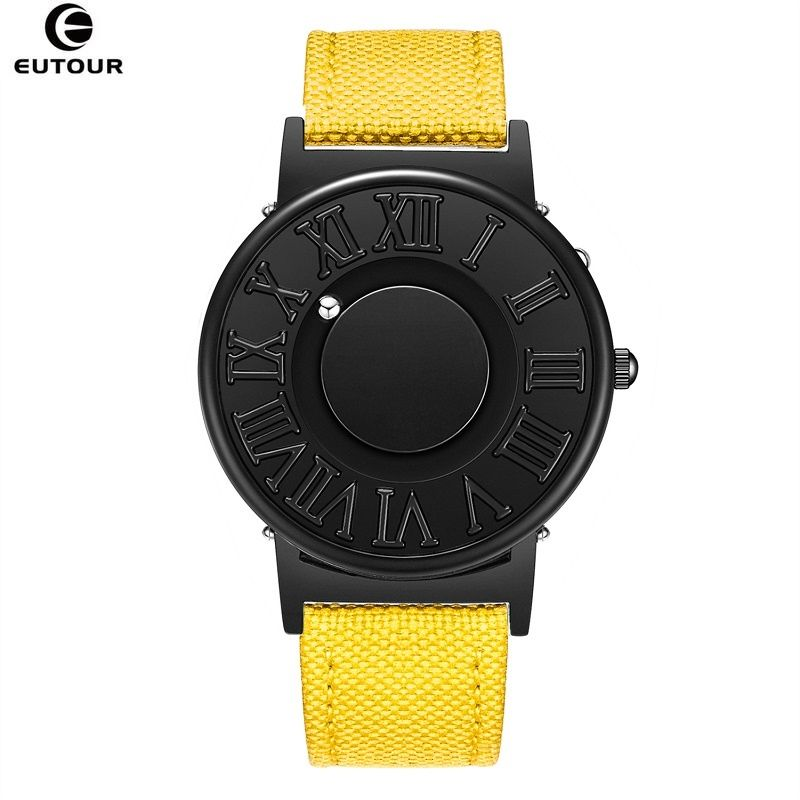 EUTOUR Watch Man Canvas Leather Strap Mens Watches Magnetic Ball Show Quartz Watches Fashion Male Clock Wristwatches