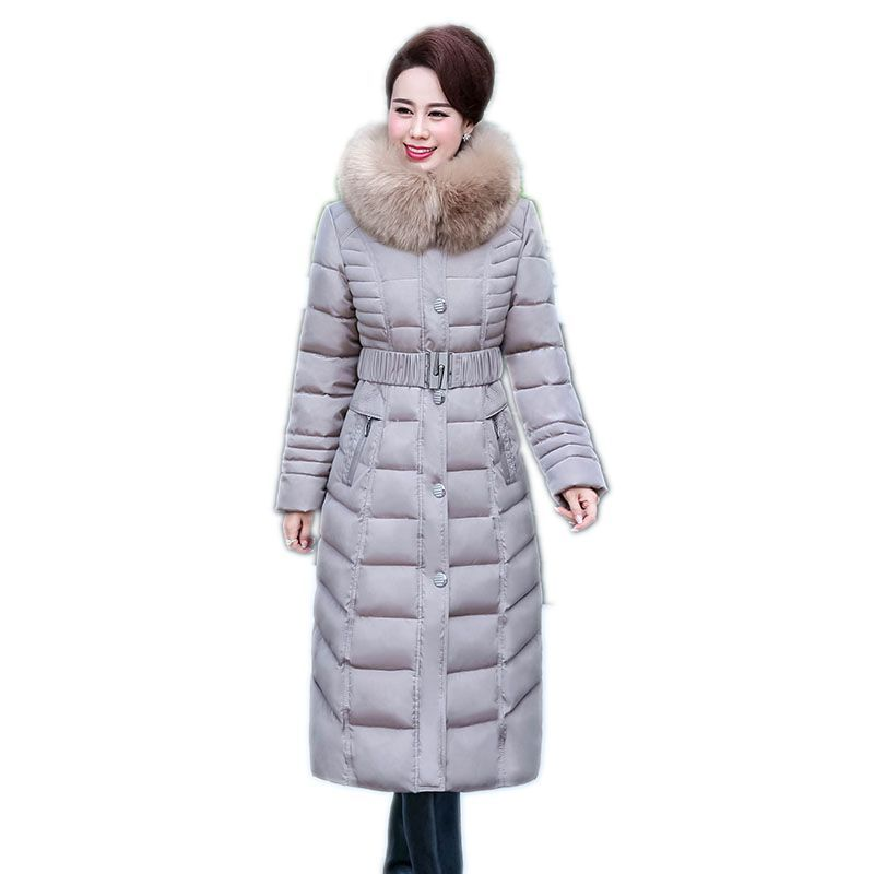 2017 Hot Sale <font><b>Promotion</b></font> Full Middle - Aged Elderly Long Jacket Warm Winter Coat Thicker Mother Fitted Women Cotton Ouacoat