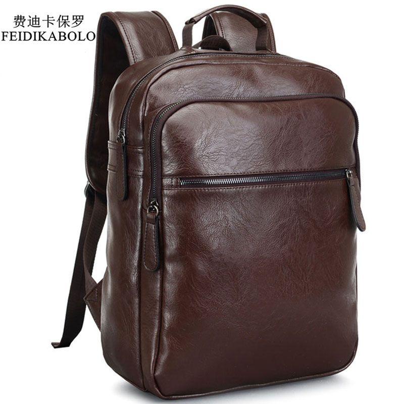 2017 Men Leather Backpack High Quality Youth Travel <font><b>Rucksack</b></font> School Book Bag Male Laptop Business bagpack mochila Shoulder Bag