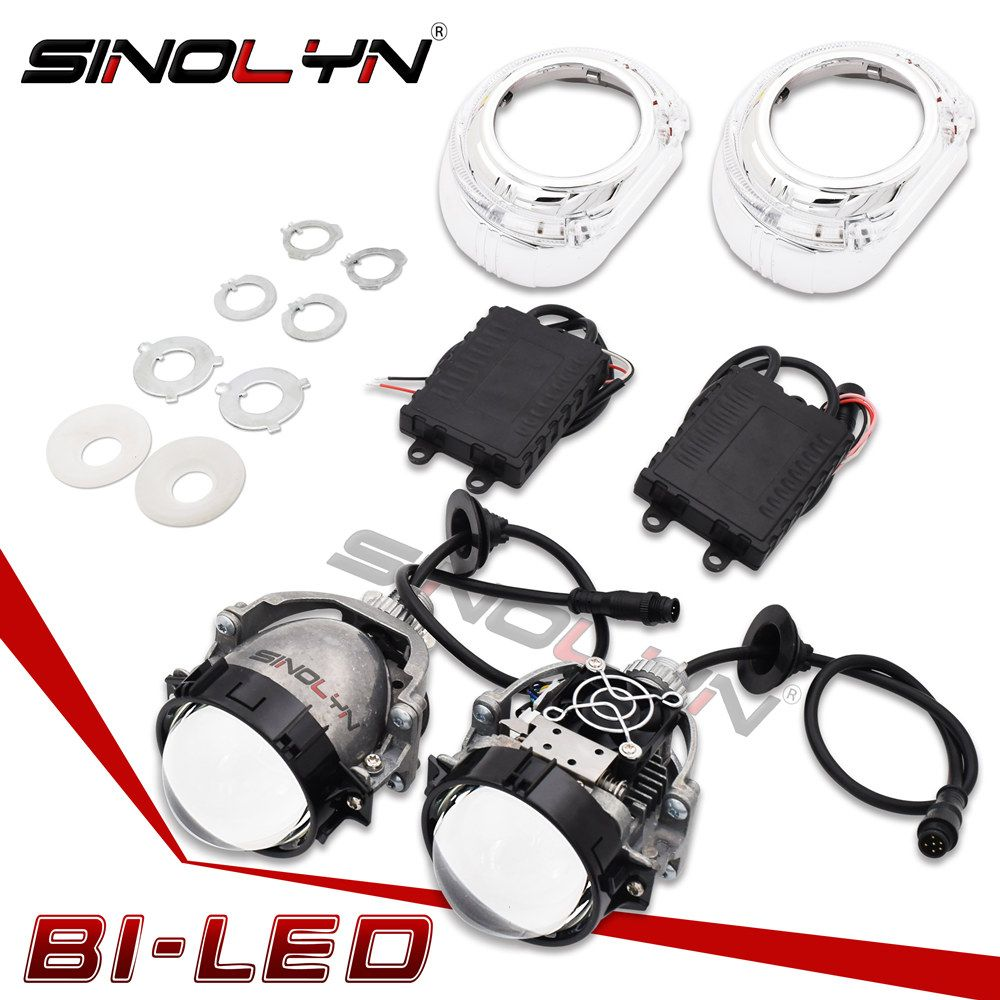 Sinolyn Car Bi LED Headlight Projector Lens Lights Angel Eyes DRL Retrofit DIY 35W Headlamp Hi/Lo Lenses SL2 H1 H4 H7 9005 90006
